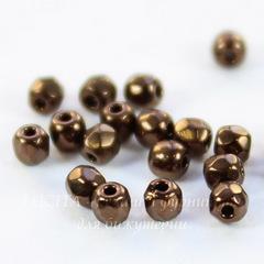 Бусина 2Tiny Шарик с огранкой, 2 мм, темно-коричневая
