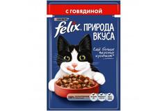 Purina Felix Nature of Teste влажный корм для кошек с говядиной в соусе 85 гр