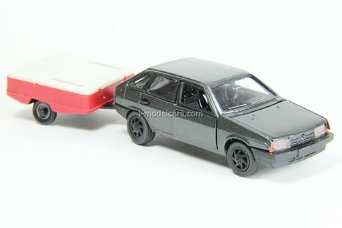 VAZ-2109 Lada Samara hatchback 5-doors dark-gray metallic with trailer Skif Agat Mossar Tantal 1:43