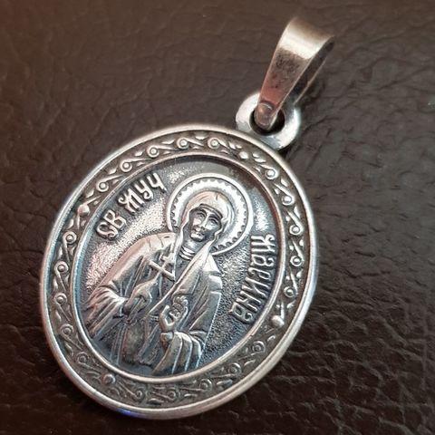 Нательная именная икона святая Марина с серебрением кулон с молитвой