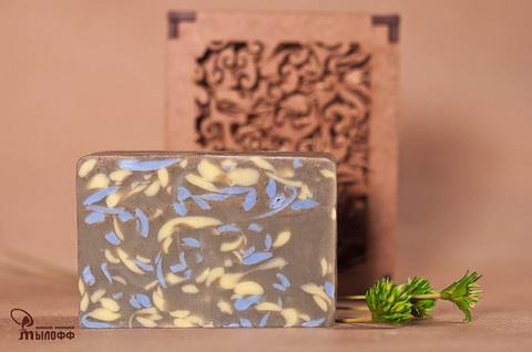 Глицериновое мыло ручной работы Зеленая глина с эфирным маслом лемонграсса внарезку, 100г. ТМ Мылофф