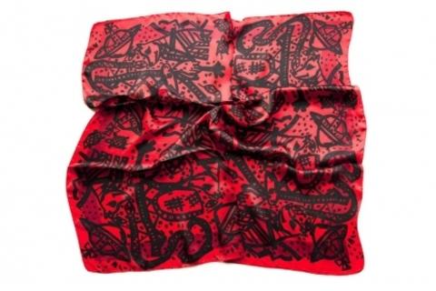 Итальянский платок из шелка красно-черный 0726