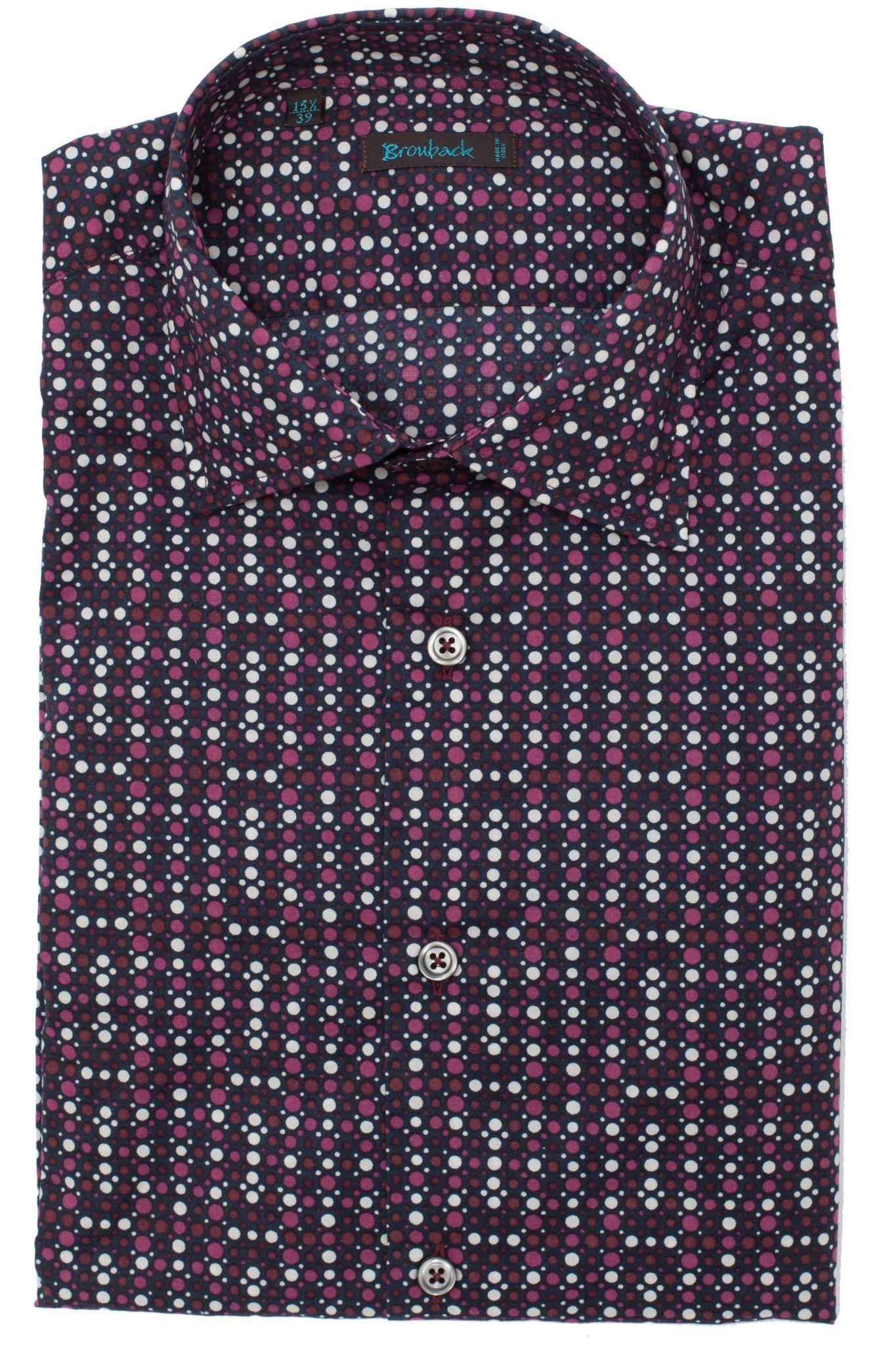 Тёмная рубашка в частый красно-бело-коричневый горошек диско 80-х