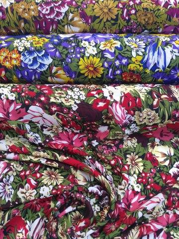 Фото Ткань Штапель Принт Полянка (Ширина 150 см, Полиэстер) рисунок Ткани и фурнитура