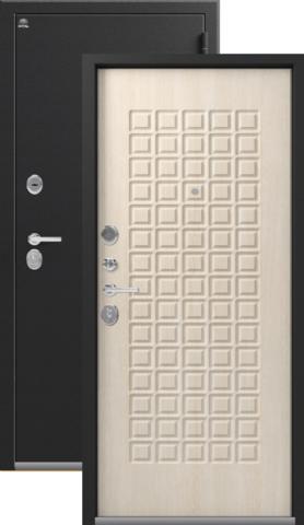 Тёплая дверь входная Сибирь S-8, 2 замка, 1,2 мм  металл, (чёрный крокодил+дуб седой)