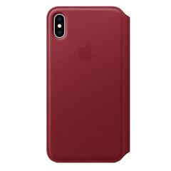 Кожаный чехол Apple Leather Folio для iPhone XS Max, цвет (PRODUCT RED) красный