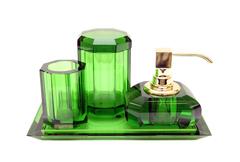 Набор аксессуаров для ванной 4шт Walther Decor Kristall зеленый