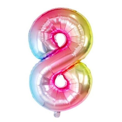 Цифра 8 Градиент Радуга Разноцветная