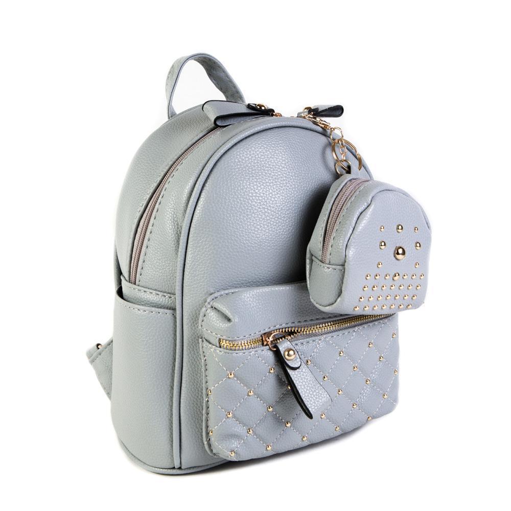 Женский средний рюкзак 20х26х13 см с брелком-кошельком серый 2968-3