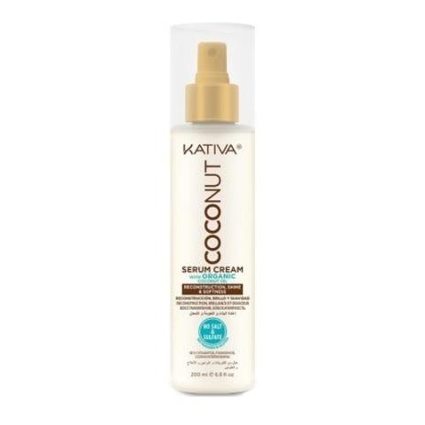 Крем-сыворотка восстанавливающая с органическим кокосовым маслом для поврежденных волос Kativa Coconut 200мл