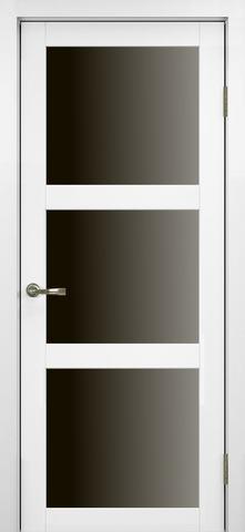 > Экошпон Optima Porte Турин 530.222, стекло лакобель чёрное, цвет белый монохром, остекленная