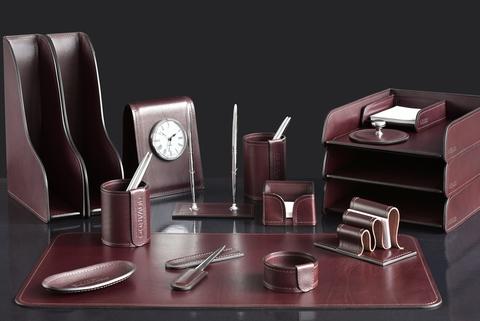 Настольный набор для руководителя 17 предметов из кожи Full Grain Brown