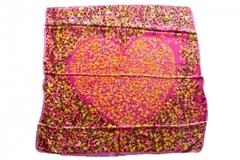 Итальянский платок из шелка розовый с сердцем 1301