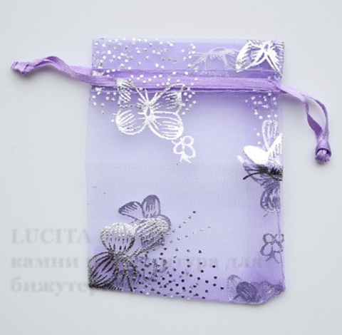 """Подарочный мешочек из органзы """"Бабочки"""" фиолетовый с серебряным, 9х7 см ()"""