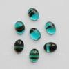 Кабошон овальный Чешское стекло, цвет - голубой с полосками, 8х6 мм