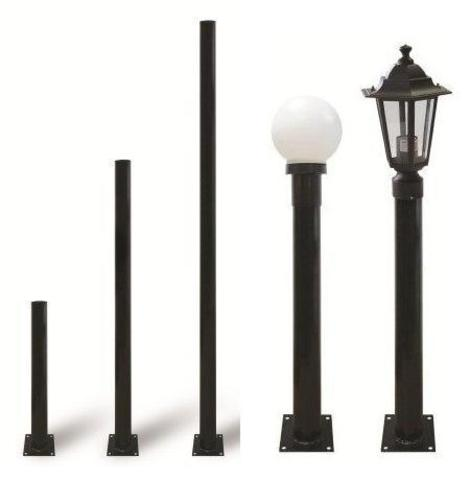 Опора металлическая садово-парковая, h=1800 мм, цвет черный, TDM