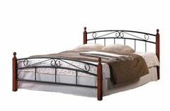 Кровать АТ-8077 200x120 (middle bed) Черный/Красный дуб