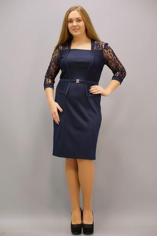 Шанталь. Оригінальна сукня великих розмірів. Синій.