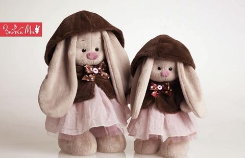 Зайка Ми в коричневой шубке и розовом платье (большая)