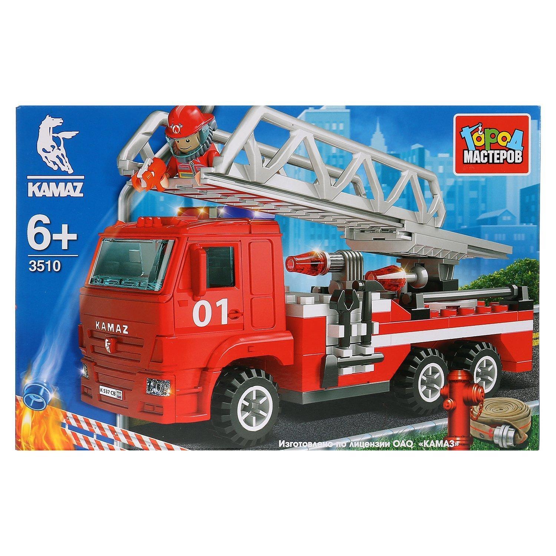 Конструктор Город мастеров Камаз Пожарная машина с лестницей и фигуркой 243456