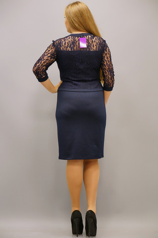Шанталь. Оригинальне платье больших размеров. Синий.