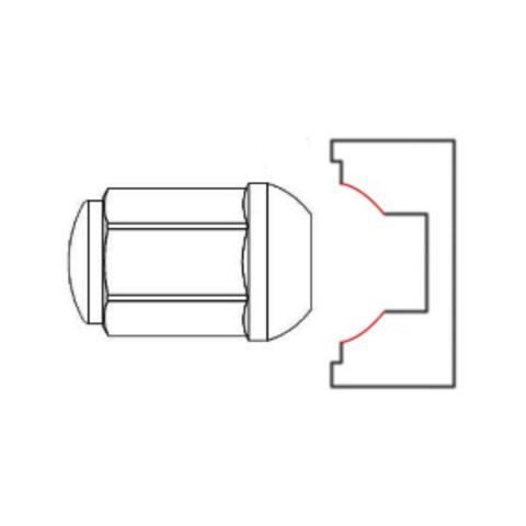 Гайка колёсная М10х1.25 длина=21мм ключ=17мм с колпачком сфера хром