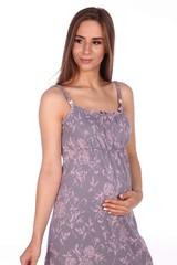 Мамаландия. Сорочка для беременных и кормящих, цветы на сером вид 2