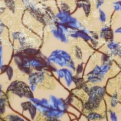 Кремово-бежевый жаккардовый шифон в лианах с синими листьями