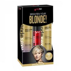 Sexy Hair Brighten Your Blonde - Набор для ухода за светлыми волосами (шампунь, кондиционер и спрей для объема)