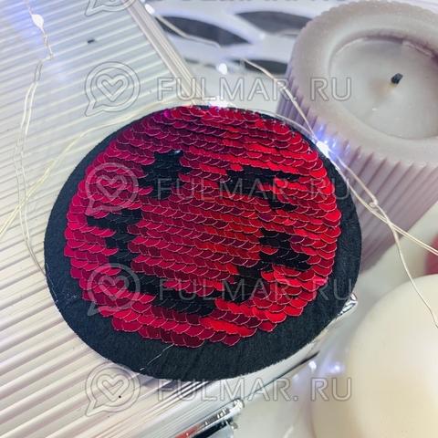 Смайлик Нашивка с двусторонним пайетками цвет: Фуксия-Серебристый (8,5х8,5 см)