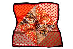 Итальянский платок из шелка красный в горошек 0077