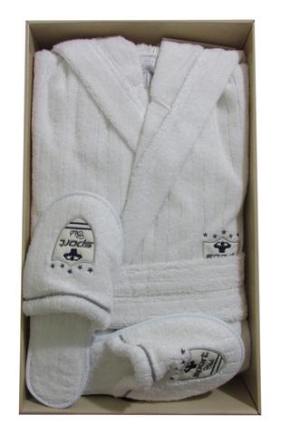 RODOLPHE  РУДОЛЬФ махровый мужской  халат с капюшоном и с тапочками  Maison Dor Турция