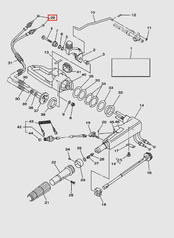 Трос газа для лодочного мотора T40 Sea-PRO (14-29)