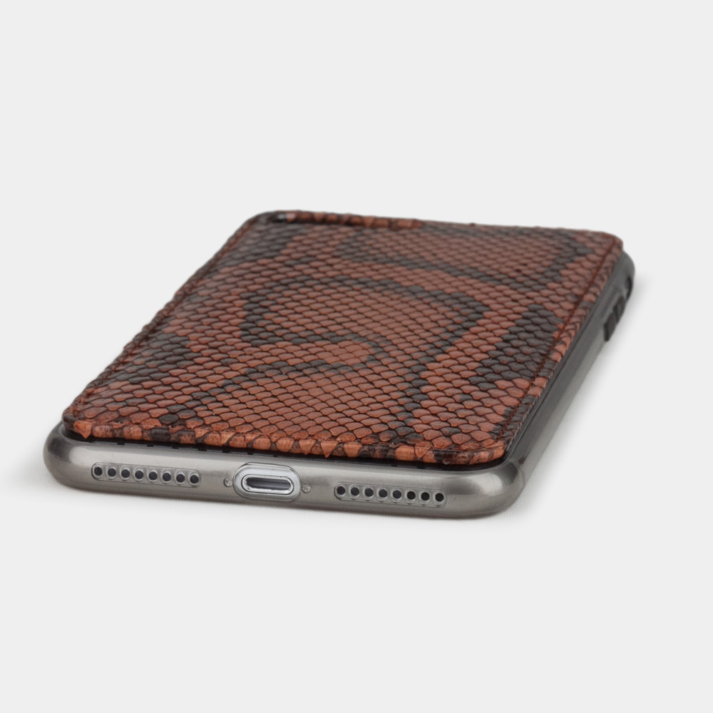 Чехол-накладка для iPhone 8 Plus из натуральной кожи питона, цвета коньяк