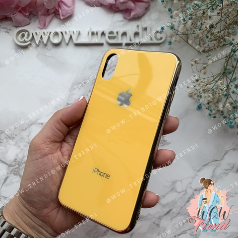 Чехол iPhone X/XS Glass Case Logo /yellow/