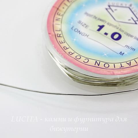 Проволока медная 1 мм, цвет - серебро, примерно 2,5 метра