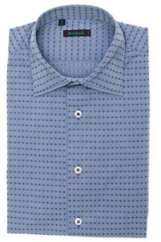 Серебристо-голубая рубашка с голубым геометрическим узором