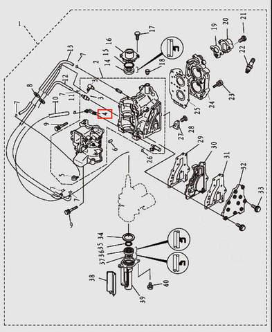 Штуцер для лодочного мотора T9.8 Sea-PRO (2-4)