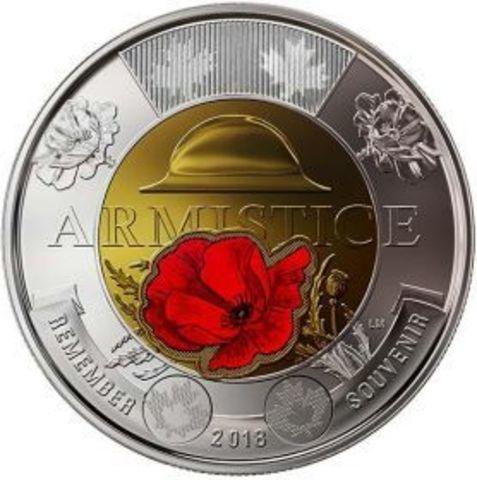 2 доллара - 100 лет окончания первой мировой войны. Канада. 2018 год. (в цвете)