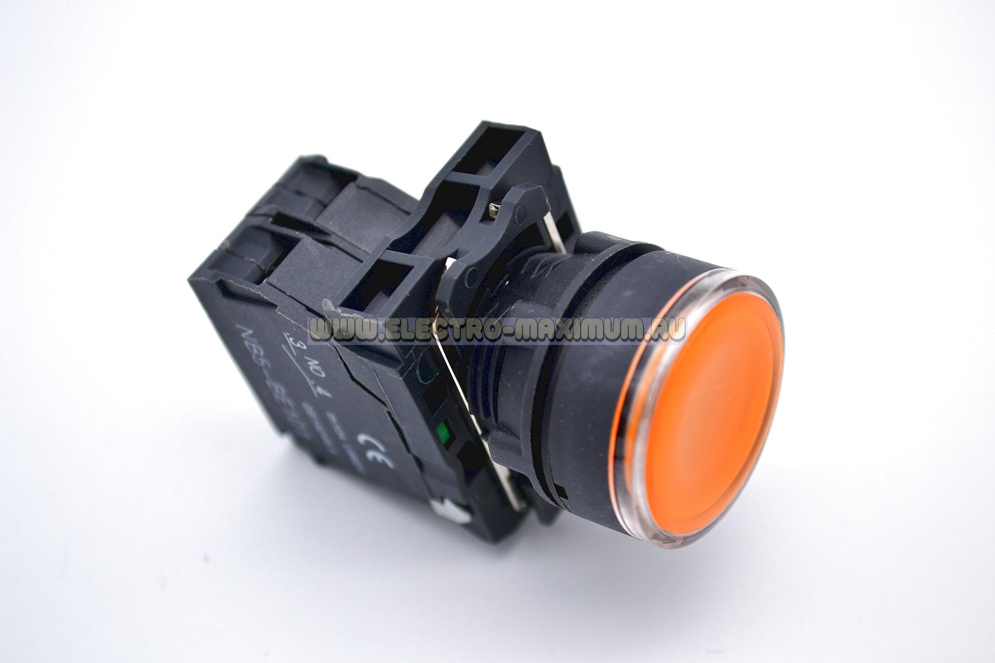 Кнопка жёлтая 22мм с подсветкой 220В 1 NO