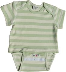 Боди/футболка с коротким рукавом ManyMonths, Зелёные/Белые полосы