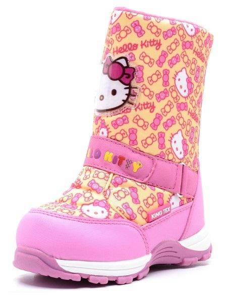 Зимние сапоги Хелло Китти (Hello Kitty) на молнии с мембраной для девочек, цвет желтый