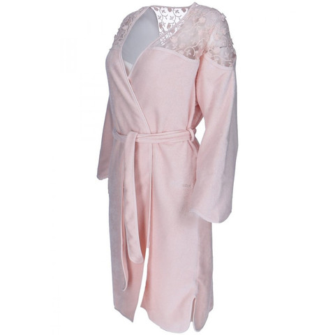 ROSELLA персиковый махровый женский халат Soft Cotton (Турция)