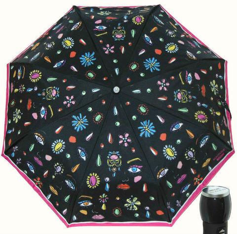 Купить онлайн Зонт складной Moschino Boutique 7082-А Faces nero в магазине Зонтофф.