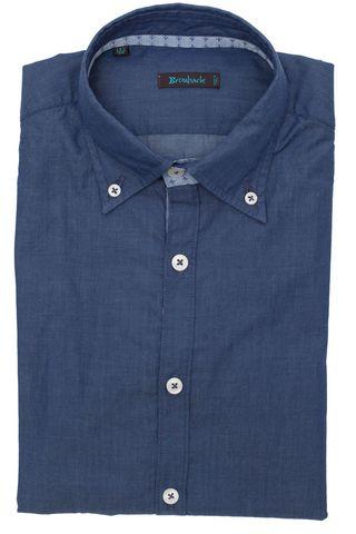 Тёмно-синяя рубашка с воротником на пуговицах