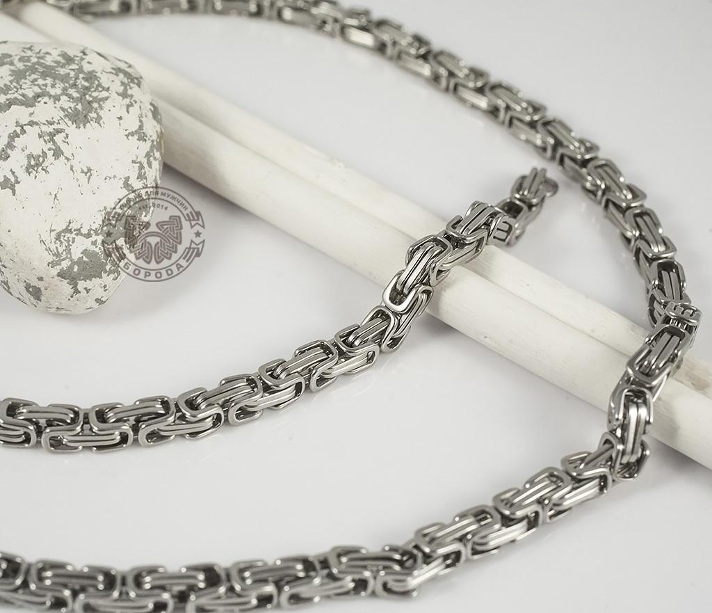 PM209 Мужская цепь из стали оригинального плетения (58 см)