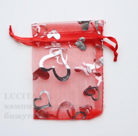 """Подарочный мешочек из органзы """"Сердечки"""" красный с серебром, 9х7 см ()"""