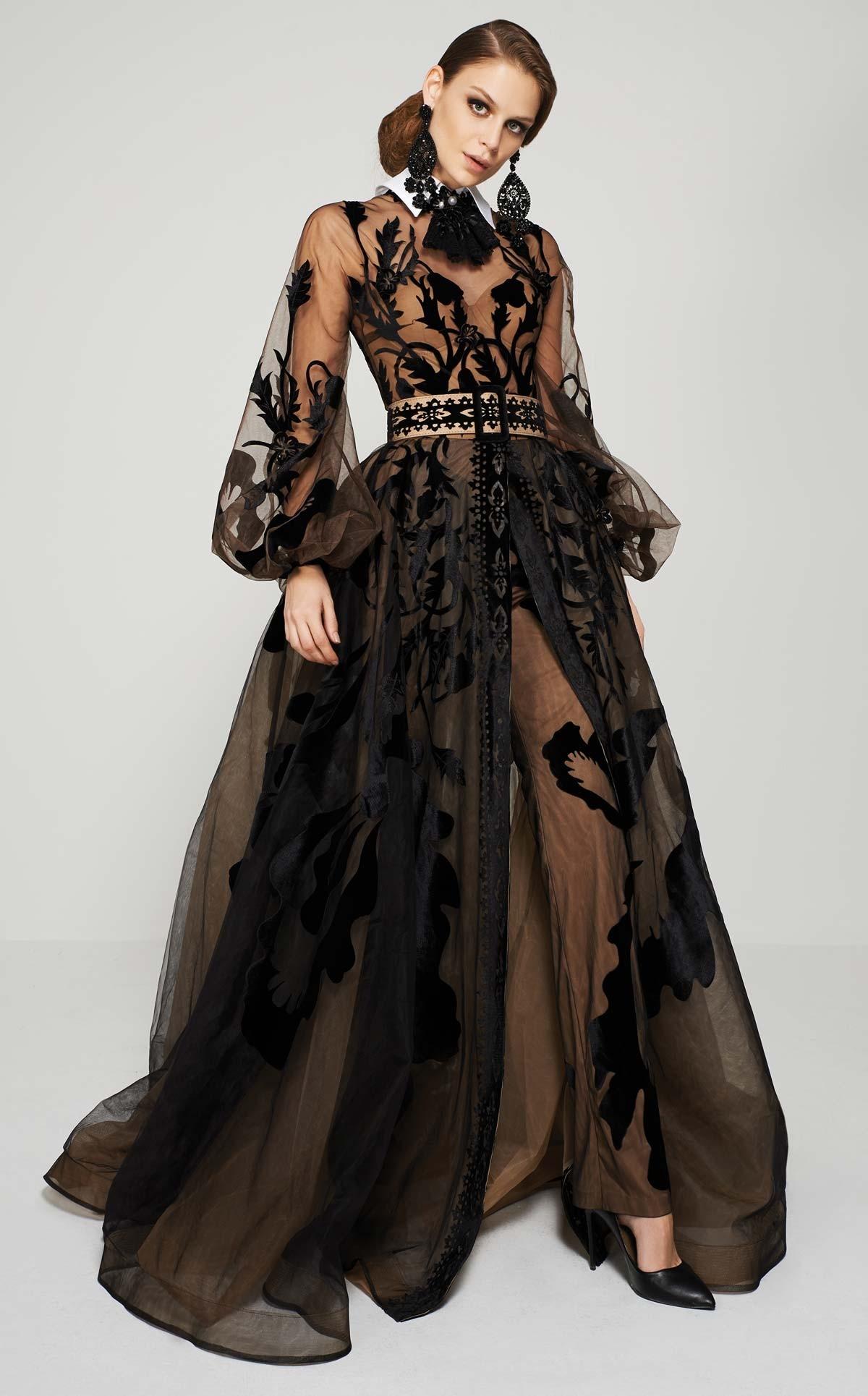 Simone 24511 черное платье  для особого случая, воздушные рукава, шлейф многослойный, все расшито оригинальной   вышивкой
