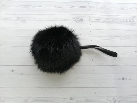 Помпон натуральный кролик черный 7-10 см