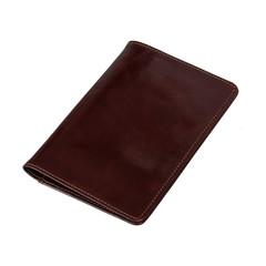 Обложка для паспорта кожаная темный коньяк, 02-005-0823